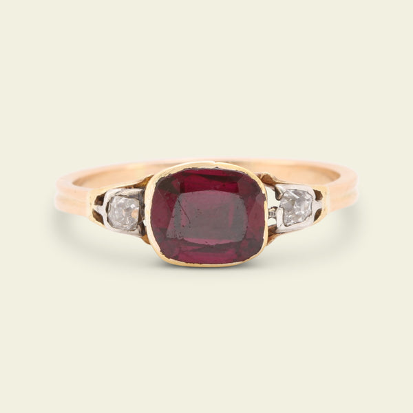 Georgian Garnet and Old Mine Cut Diamond Ring
