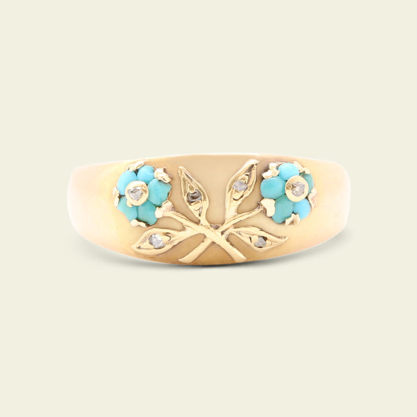 Early 20th Century Austrian Double Forget Me Not Ring