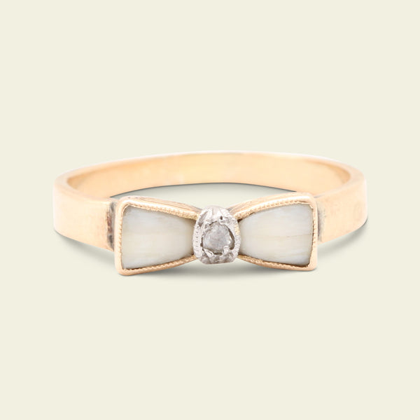 Belle Époque Milk Teeth and Rose Cut Diamond Bow Ring