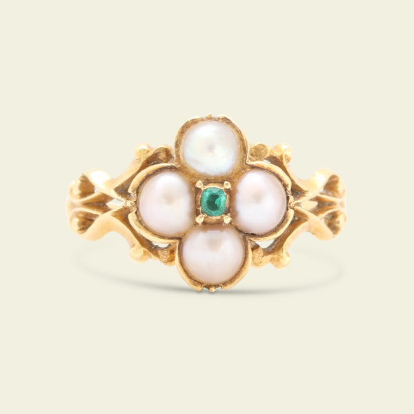Early Victorian Emerald and Pearl Quatrefoil Ring