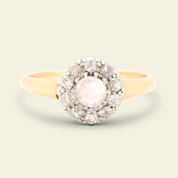 Victorian Moonstone and Old Mine Cut Diamond Cluster Ring