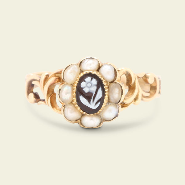 Victorian Forget Me Not Onyx Cameo and Pearl Cluster Ring