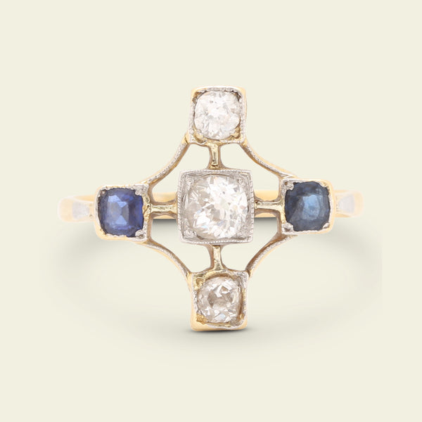 1920s Diamond and Sapphire Cruciform Ring
