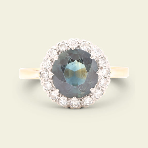 1920s Blue Spinel and Diamond Cluster Ring
