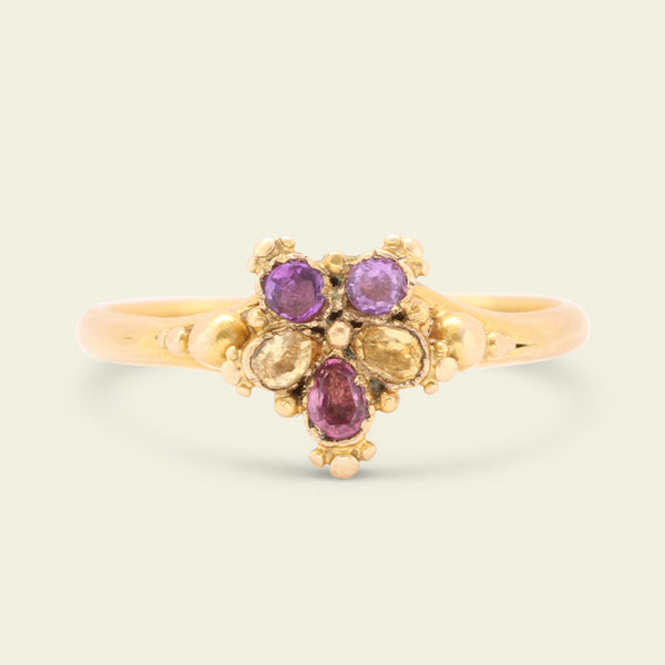 Georgian Amethyst and Citrine Pansy Ring