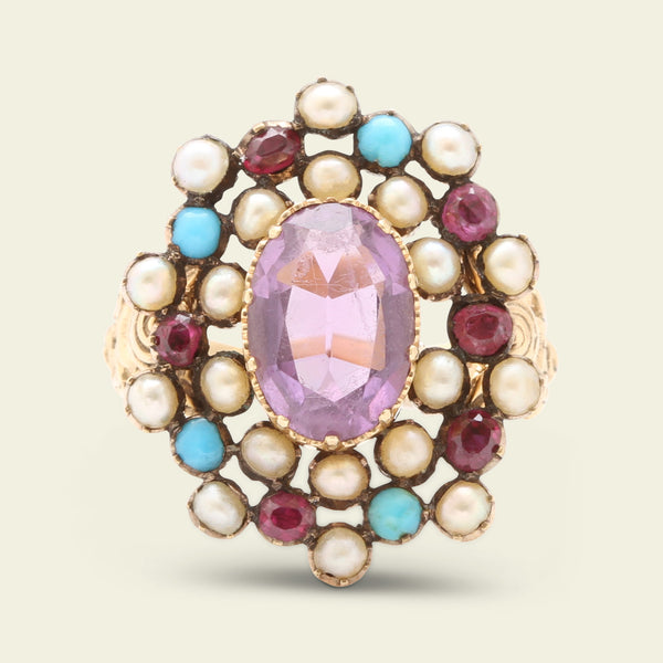 Victorian Amethyst, Pearl, Ruby and Turquoise Ring