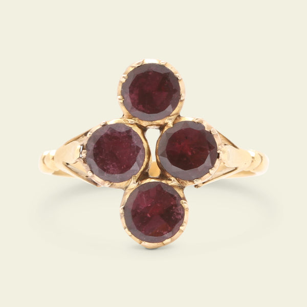 Early Victorian Four Garnet Cluster Ring