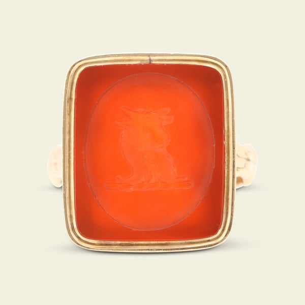 Victorian Saunders Family Crest Carnelian Intaglio Ring