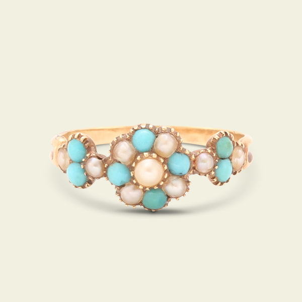 Georgian Turquoise and Pearl Cluster Ring