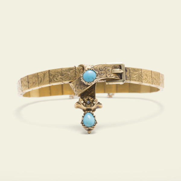 Mid Victorian Turquoise and Seed Pearl Garter Bracelet