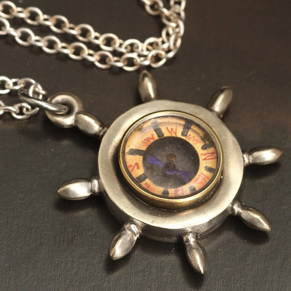 Early 20th Century Silver-Tone Ship's Wheel Compass Necklace