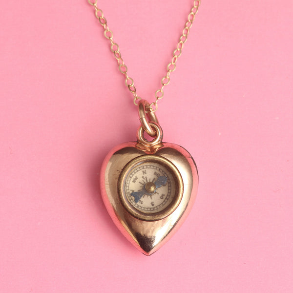 Victorian Heart Compass Necklace