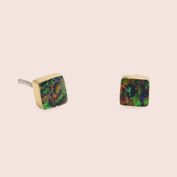 Golden Equilateral Opal Studs (Black)