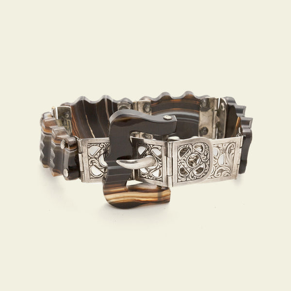 Scottish Silver and Agate Belt Bracelet