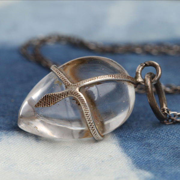 Quartz Egg with Silver Snake Necklace