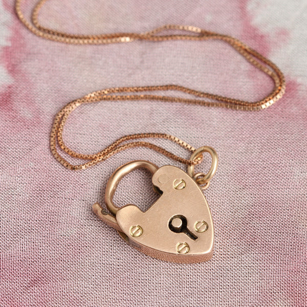 Vintage English Rose Gold Heart Padlock Necklace