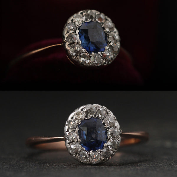 American Victorian Oval Sapphire and Diamond Cluster