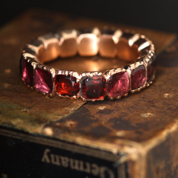 Georgian Rose Gold Garnet Eternity Ring