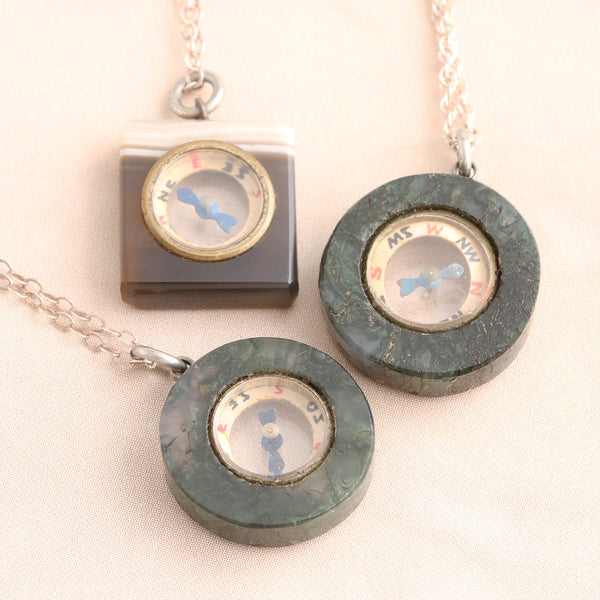 Vintage Agate Compass Necklaces