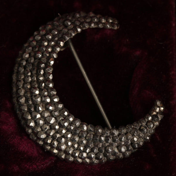 Georgian Cut Steel Crescent Brooch
