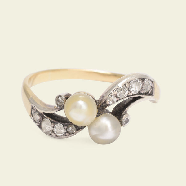 Edwardian Pearl and Diamond Crossover Ring