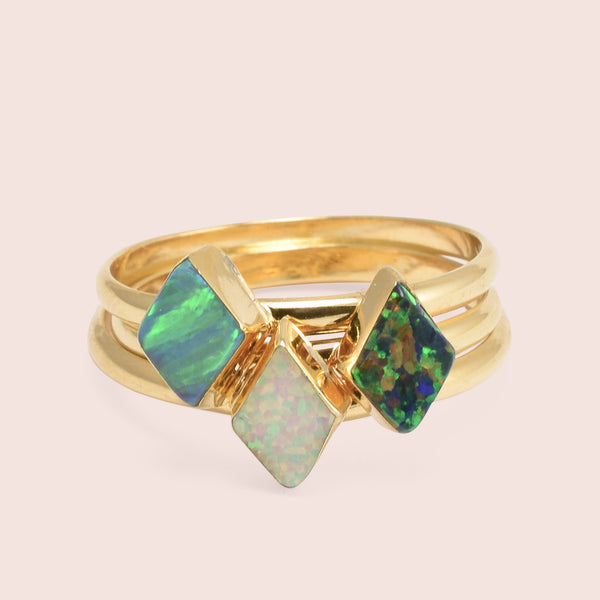 Golden Parallelogram Opal Rings