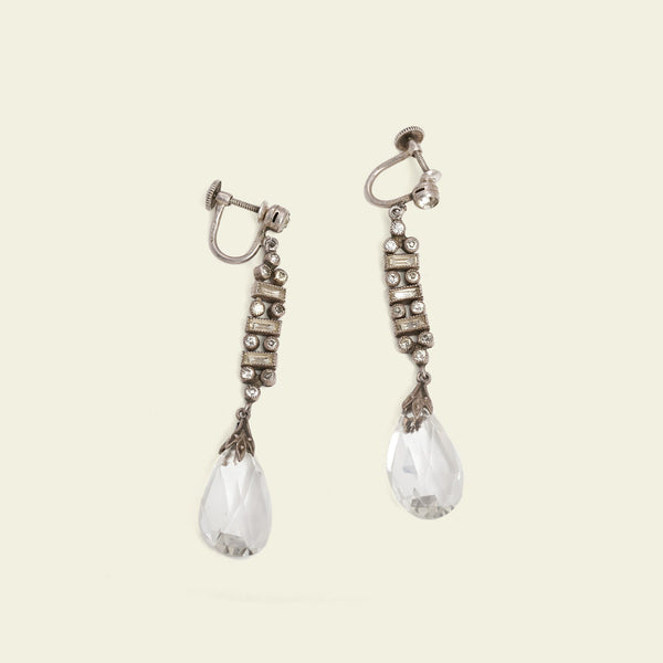 Deco Crystal and Paste Silver Earrings