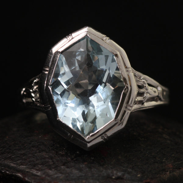 Fancy Cut Aquamarine Filigree Ring