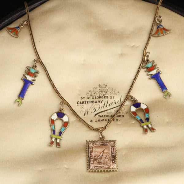 Egyptian Revival Enamel Stamp Necklace
