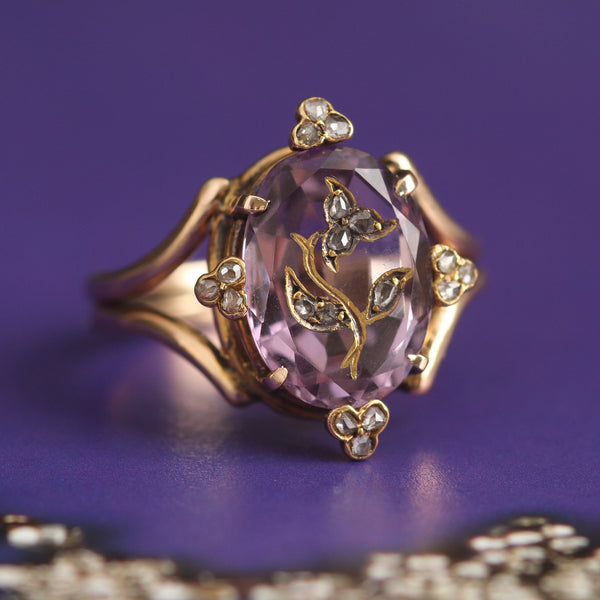 Victorian Inlaid Amethyst and Rose Cut Diamond Ring