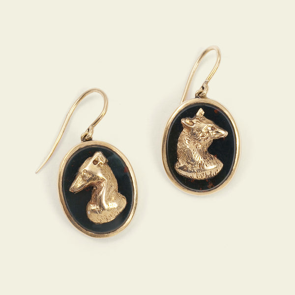 Victorian Bloodstone Foxhunt Earrings