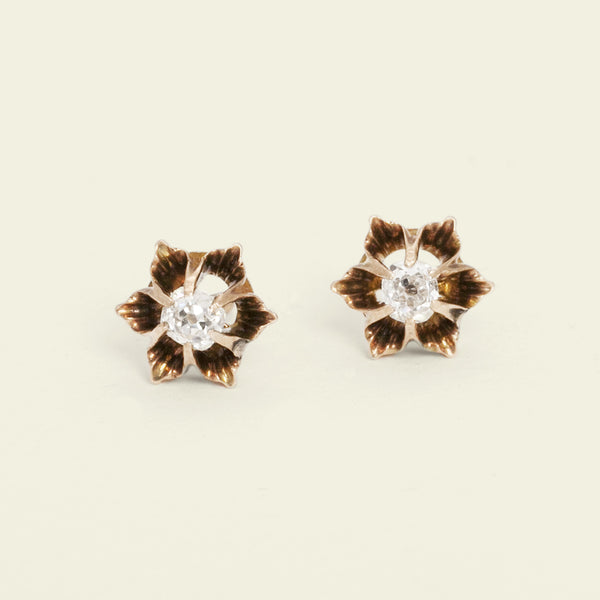 Victorian Buttercup Diamond Studs