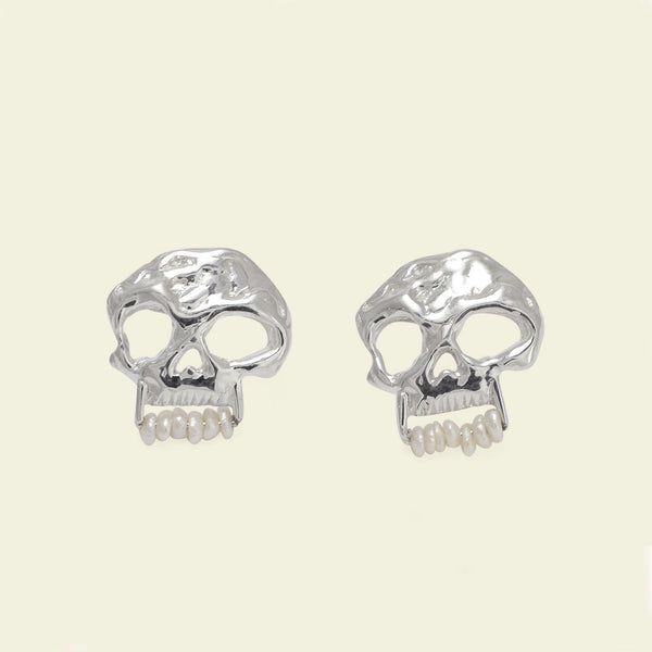 Skull Earrings with Pearl Teeth