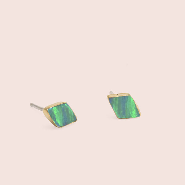 Golden Parallelogram Opal Studs (Green)