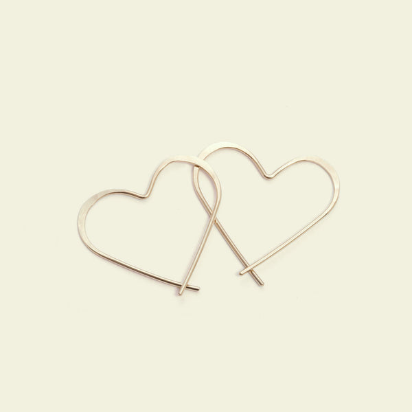 Heart Hoops (14K yellow gold)