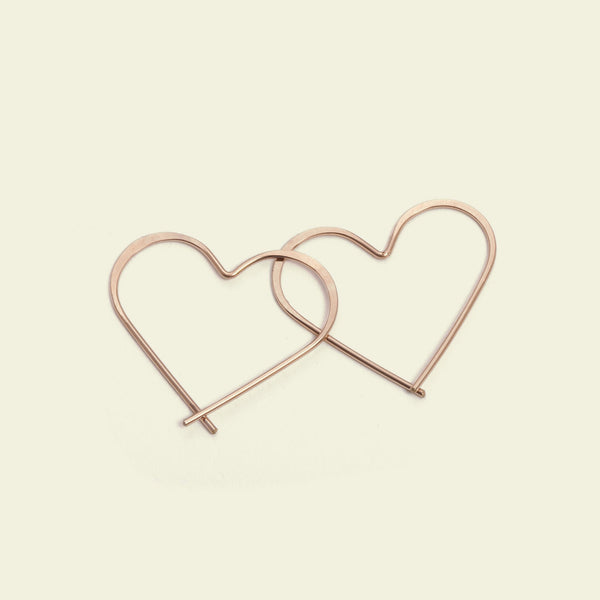 Heart Hoops (14k Rose gold)
