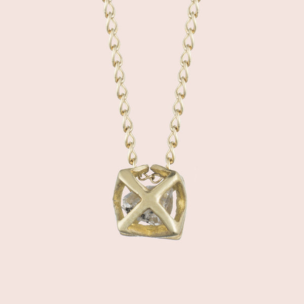 Caged Herkimer Necklace