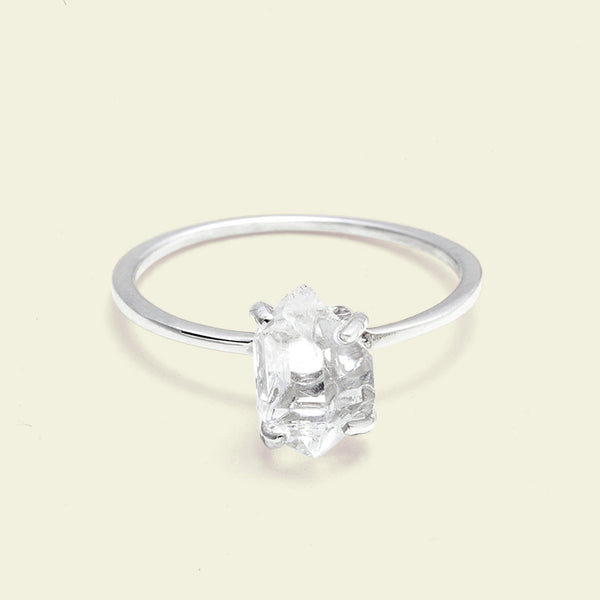 Herkimer Diamond Solitaire Ring (silver, mini)