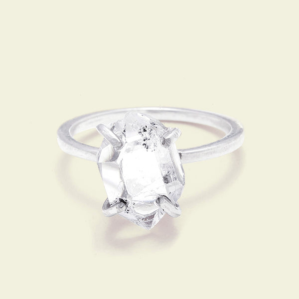 Herkimer Diamond Solitaire Ring (silver, large)