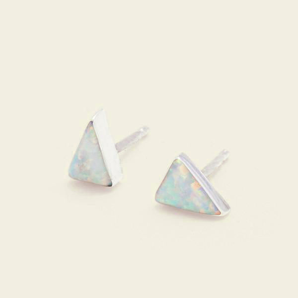 Isosceles Opal Earrings (white)