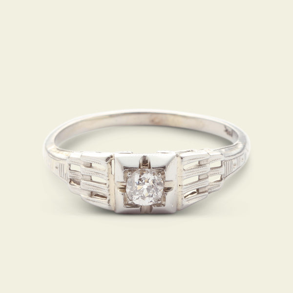 Deco .26ct Diamond Engagement Ring with Interlocked Shoulders