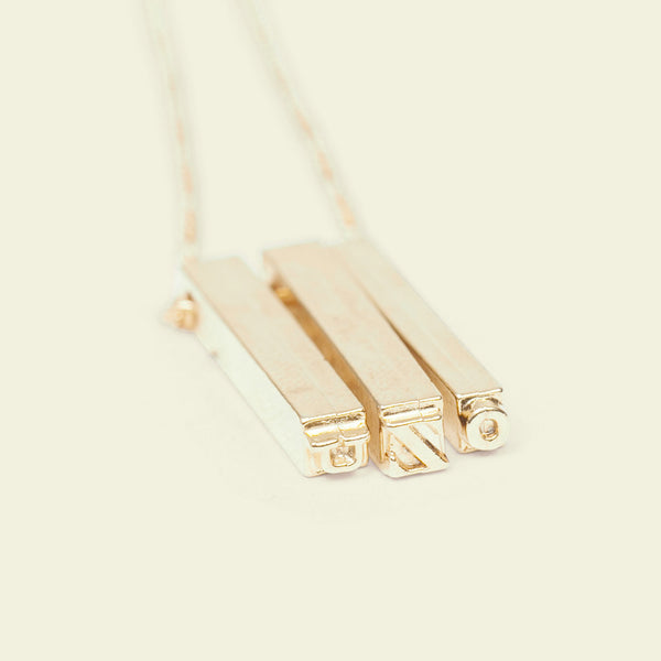 Letterpress Necklace (Gold Plate)