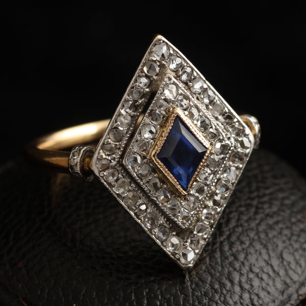 ring lozenge diamond gold with diamonds curved shoulders engagement product