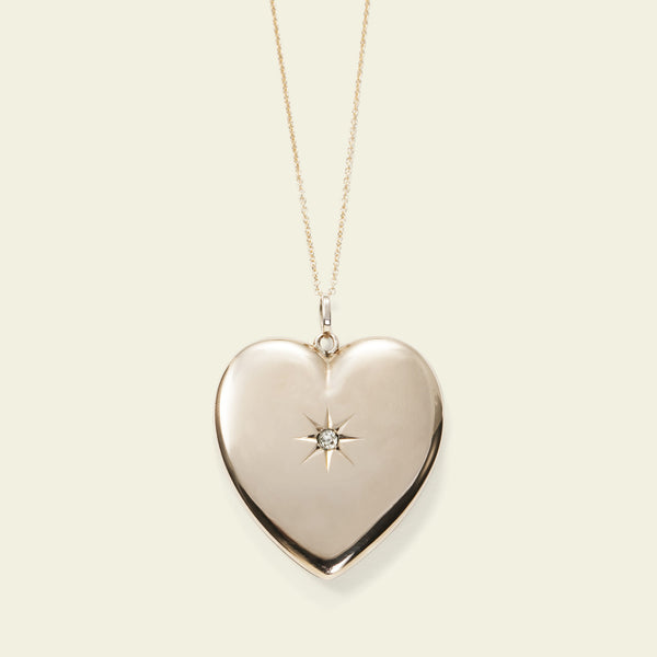 Edwardian Oversize Diamond Heart Locket Necklace