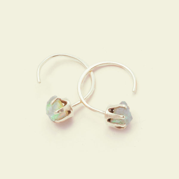 Rough Gem Half-hoops (Opal 14k gold)