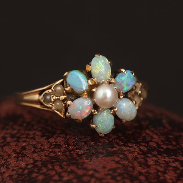 Victorian Opal and Pearl Cluster Ring