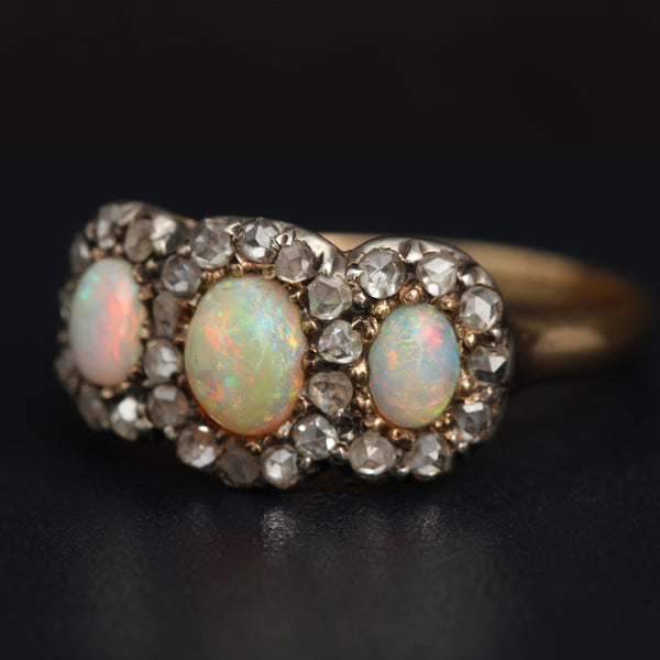 Victorian Opal and Rose Cut Diamond Triple Cluster Ring