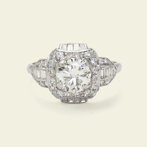 Art Deco 1.5ctw Diamond Cluster Ring with Baguette Fringe