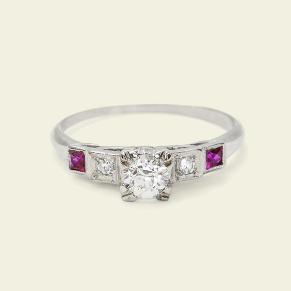 Deco Diamond and Ruby Gradation Engagement Ring