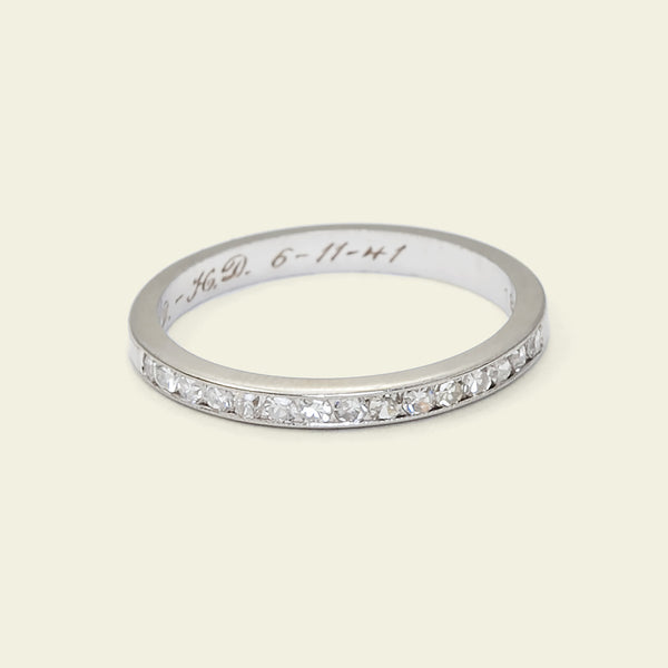 Late Deco Demi Diamond Wedding Band